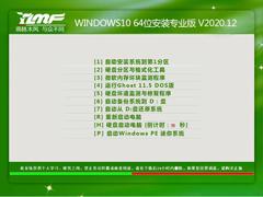 雨林木风 WINDOWS10 64位安装专业版 V2020.12