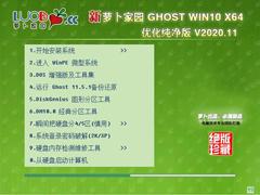 萝卜家园 WINDOWS10 64位优化纯净版 V2020.11
